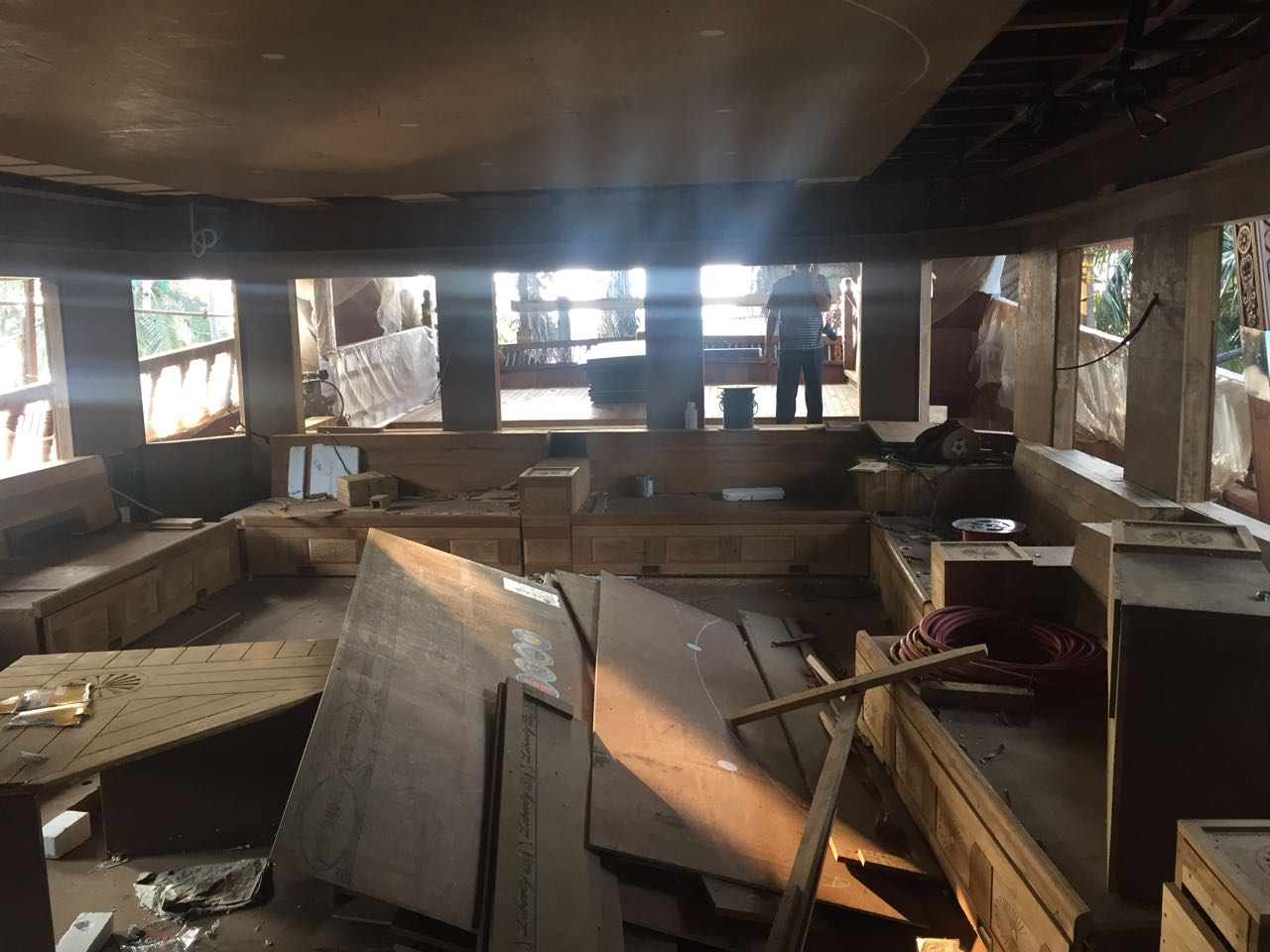 inside wooden ship